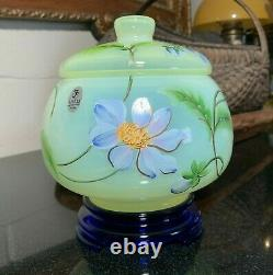 Fenton DAHLIAS 3 Piece Limited Edition Hand Painted, Signed Lidded Bowl on Stand