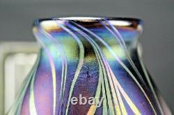 Fenton FAVRENE FEATHERS Pulled Feather DAVE FETTY Signed 2002 Sample Vase OOAK