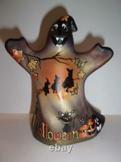 Fenton Glass Halloween Nights Witch Cat Ghost Figurine GSE Ltd Ed #3/43 Barley
