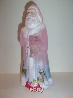 Fenton Glass Pink Rooftop Reindeer Christmas Santa Claus Deer Ltd Ed #4/24 Kibbe
