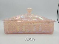 Fenton Glass Shell Pink Butterfly FAGCA Souvenir Candy Box 1988 Iridescent