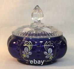 Fenton Hand Painted Royal Purple 3 Piece Vanity Set Nancy & Shelly LIMITED