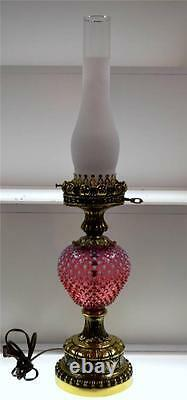 Fenton LAMP CRANBERRY OPALESCENT 26 Vintage GWTW Free Ship LOWER48