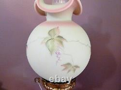 Fenton Lamp Burmese Hand Painted Berry and Butterfly 3-way Limited Edition