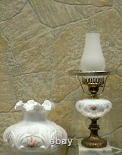 Fenton Lamp MILK GLASS with FOUNT/Marble Base LOUISE PIPER ROSES 20 student