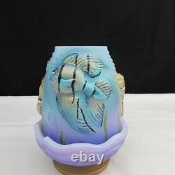 Fenton Opal Satin GS Hand Painted Atlantis 2 pc Fairy Light LE C930