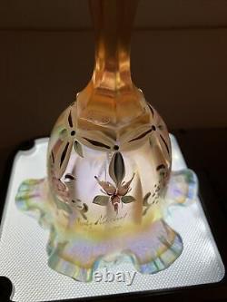 Fenton Pink/peach Opalescent Iridescent Floral Glass Bell Sign Kathy Mackey LTD