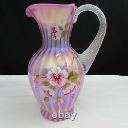 Fenton Raspberry Rib Optic Floral Hand Painted Pitcher 2006 W443