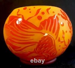 Fenton Sand Carved Persimmon Fish Bowl LIMITED To 95 part of cameo collection