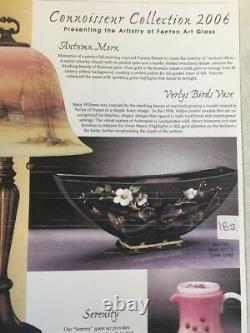 Fenton Verlys Birds Vase Hand Painted Cherry Blossoms On Aubergine Limited