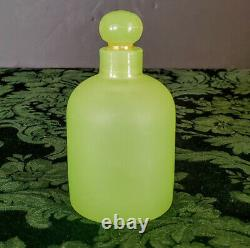 French Antique Opaline Vaseline Portieux Vallerysthal Lotion Glass Bottle 1940's