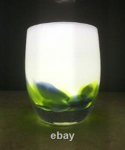 Glassybaby HAWKFETTI Candle Votive Seahawks RETIRED 2017 PERFECT withBOX CARDS etc