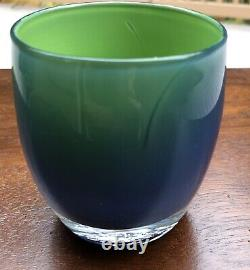 Glassybaby SEAHAWKS PRIDE Limited Edition Blue Green Votive Candle Holder RARE