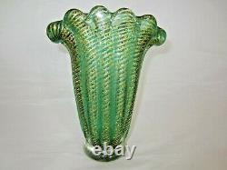 Green Cordonato d'Oro art glass fan vase Murano Barovier Toso 24k Gold sommerso