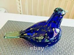 Handsome deep blue Sinikki Oiva Toikka Nuutajärvi iittala Finland glass bird