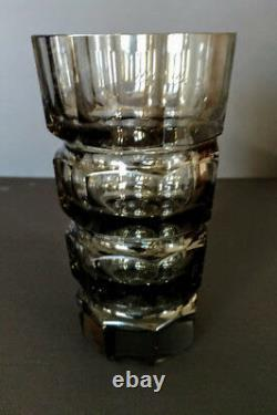 Hoffmann-Moser Smoked Faceted Glass Vase Czechoslovakia 1930'sGorgeous