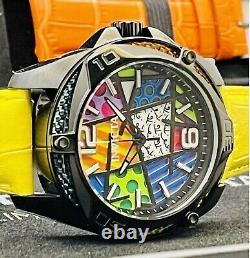 Invicta Men Limited Ed 43mm Romero Britto Tri-Colored Glass Watch 5 Color Straps