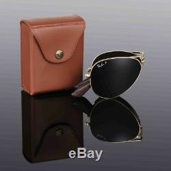 LTD EDN RAYBAN 22KT GOLD PLATED Folding AVIATOR Sunglasses 58MM RB 3479KQ 001/N5