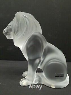 Lalique Bamara Seated Lion Frosted Crystal Glass Sculpture Signed France