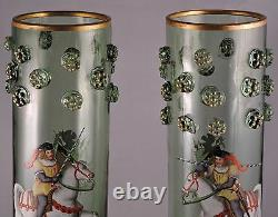 MOSER VASES THEODORE ROSSLER BOHEMIAN CLASSICAL FIGURAL WithPRUNTS ANTIQUE
