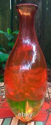 MURANO Flavio De Poli Sommerso Seguso Stunning Orange Yellow Teardrop Vase