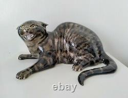Mike Hinton Ceramic Large Hissing Tabby Cat Limited Edition, Glass Eyes 33cm