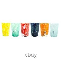 Murano Glass Drinking Tumblers Set of Six 6 Blue Yellow Orange Green Millefiori