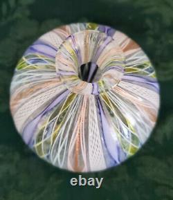 Murano Salviati Artisti Barovier Venetian Silver Leaf Ribbon Art Glass Vase Rare