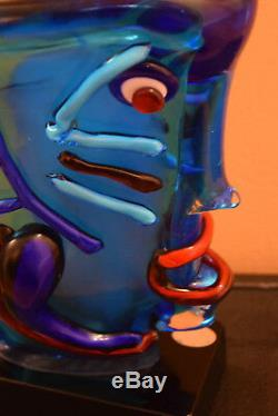 Murano Signed Limited Artwork Glass Sculpture A Homage to Picasso by S Frattin