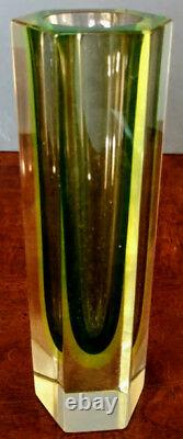 Murano Vaseline Diamond Faceted Mandruzatto Studio Vase Early 60's Rare