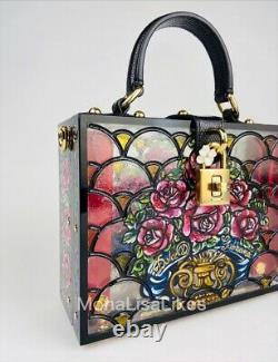 NEW DOLCE & GABBANA Limited Edition Runway Stain Glass Floral Box Bag Purse
