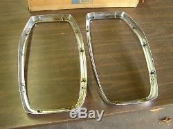 NOS OEM Ford 1965 Galaxie 500 Headlight Bezels Chrome Trim XL LTD Glass Covers