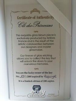 New Arribas limited Edition 200 Disney Rapunzel Glass key #131 Exclusive