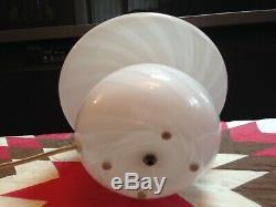 Nice 1980s Modern Vetri Swirl Milk Murano Glass Mushroom Lamp 11 Italian Art