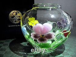 Orient & Flume, Signed Ed Alexander, Crystal Cased Pansy Bouquet Vase Ltd Ed Nib