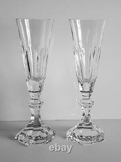 Pair Wonderful Baccarat Harcourt Crystal Champagne Flute Glass, New, No Stamp