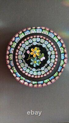 Perthshire Paperweight 1997B Millefiori and Flowers Paperweight #179 LE WithCOA