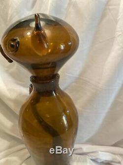 RARE CIRCA 1955 Amber COLOR BLENKO ART GLASS Cat DECANTER'by WAYNE HUSTED