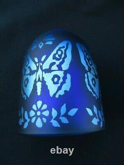 RARE Fenton Glass Favrene & Blue Butterfly Fairy Lamp Limited Edition Signed
