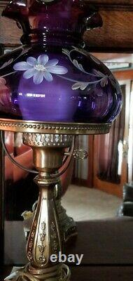 RARE Fenton Hand Painted ROYAL PURPLE Student Lamp LIMITED EDITION #65/1450