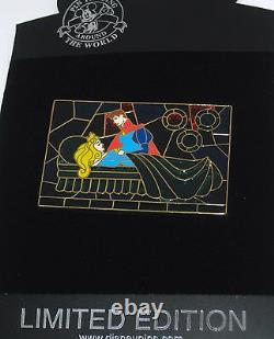 RARE LE 100 Disney Pin Sleeping Beauty Aurora Prince Phillip Fairy Stained Glass
