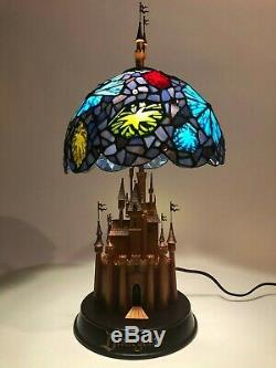 RARE Limited Edition Disney Sleeping Beauty Castle Stained Glass Lamp MINT