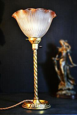Rare Edwardian C-1910 Barley twist Limited-edition lamp tinted Holophane shade