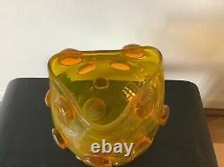 Rare Yellow Blenko Signed Blob Vase #597- Prunted Rose Bowl Wayne Husted 1959