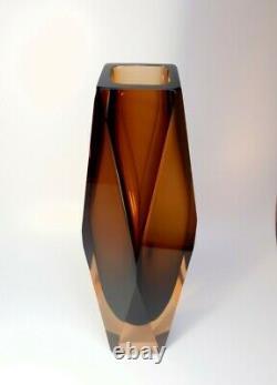 Rare size 30cm. 70s Alessandro Mandruzzato Sommerso Murano Faceted Glass Vase