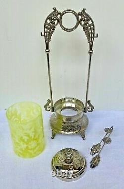 STUNNING RARE Fenton Daisy & Fern PICKLE CASTOR Vaseline Opalescent Glass