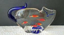 Sandro Frattin Murano Art Glass Figurine Cat with Five Fish in Belly