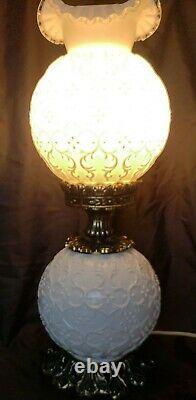 ScarceVintage FENTON MILK GLASS SPANISH LACE DOUBLE BALL GWTW PARLOR LAMP