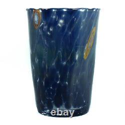 Set of 6 Murano Glass Drinking Art Glasses Tumbler Blue Hand Made Millefiori Set