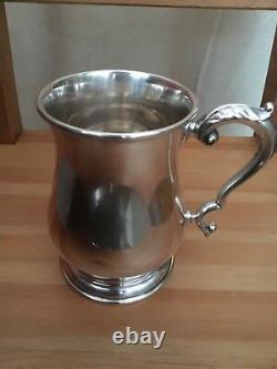 Sterling Silver Pint Tankard Mug By G&SCo LTD London 925 Glass Bottomed 458.5g